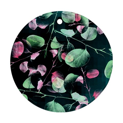 Modern Green And Pink Leaves Ornament (Round)