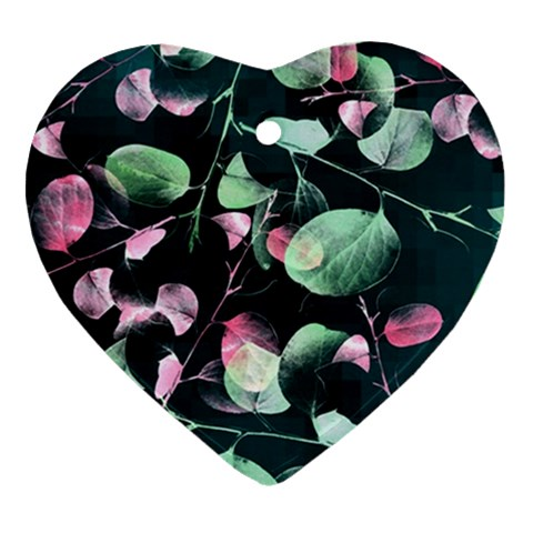 Modern Green And Pink Leaves Ornament (Heart)