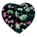 Modern Green And Pink Leaves Ornament (Heart)  Front