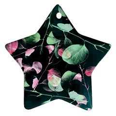 Modern Green And Pink Leaves Ornament (Star)