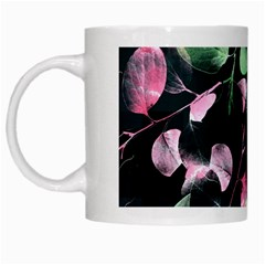 Modern Green And Pink Leaves White Mugs