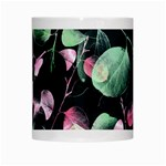 Modern Green And Pink Leaves White Mugs Center