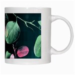 Modern Green And Pink Leaves White Mugs Right