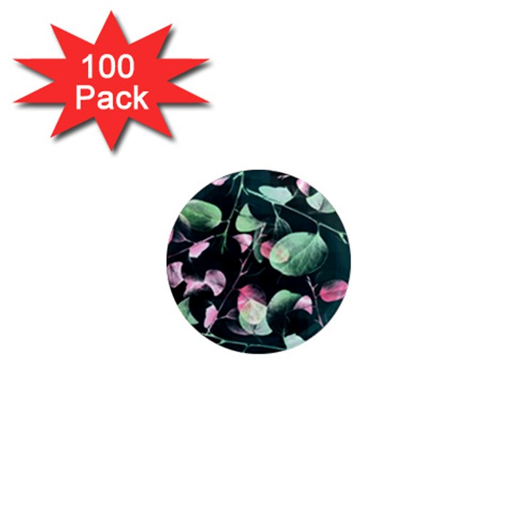 Modern Green And Pink Leaves 1  Mini Magnets (100 pack)
