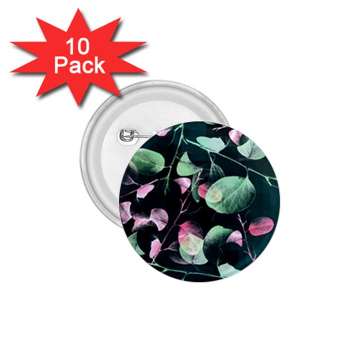 Modern Green And Pink Leaves 1.75  Buttons (10 pack)