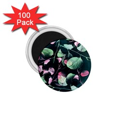 Modern Green And Pink Leaves 1 75  Magnets (100 Pack)