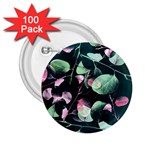 Modern Green And Pink Leaves 2.25  Buttons (100 pack)  Front