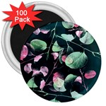 Modern Green And Pink Leaves 3  Magnets (100 pack) Front