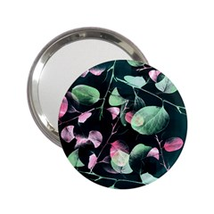 Modern Green And Pink Leaves 2 25  Handbag Mirrors