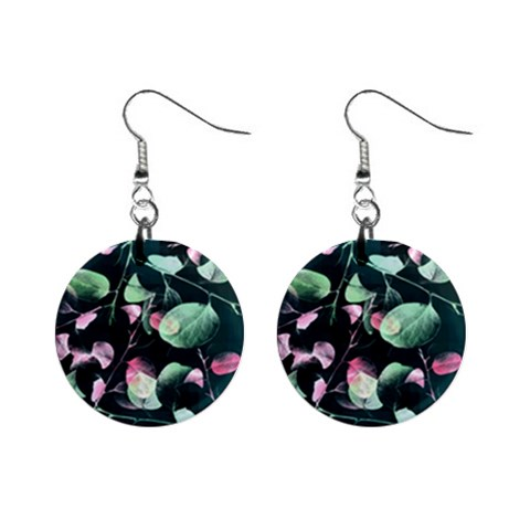 Modern Green And Pink Leaves Mini Button Earrings