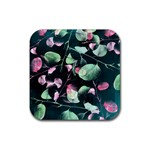 Modern Green And Pink Leaves Rubber Coaster (Square)  Front