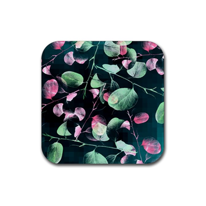 Modern Green And Pink Leaves Rubber Square Coaster (4 pack)