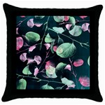 Modern Green And Pink Leaves Throw Pillow Case (Black) Front