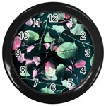 Modern Green And Pink Leaves Wall Clocks (Black) Front