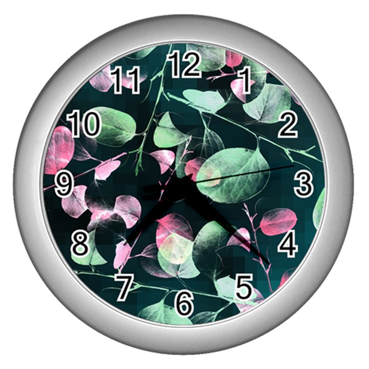 Modern Green And Pink Leaves Wall Clocks (Silver)