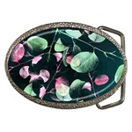 Modern Green And Pink Leaves Belt Buckles Front