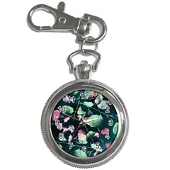 Modern Green And Pink Leaves Key Chain Watches