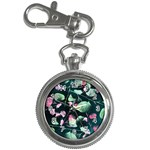 Modern Green And Pink Leaves Key Chain Watches Front