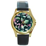Modern Green And Pink Leaves Round Gold Metal Watch Front