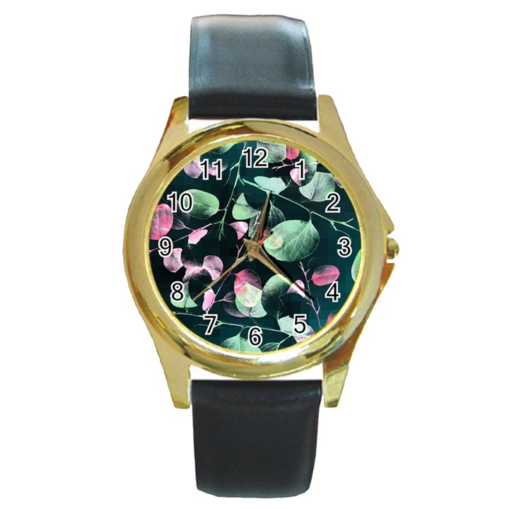 Modern Green And Pink Leaves Round Gold Metal Watch