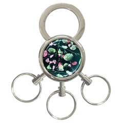 Modern Green And Pink Leaves 3 Ring Key Chains