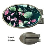 Modern Green And Pink Leaves Money Clips (Oval)  Front