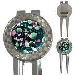 Modern Green And Pink Leaves 3 In 1 Golf Divots