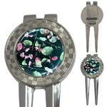 Modern Green And Pink Leaves 3-in-1 Golf Divots Front