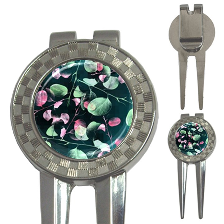 Modern Green And Pink Leaves 3-in-1 Golf Divots