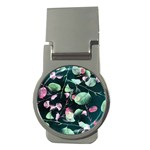 Modern Green And Pink Leaves Money Clips (Round)  Front
