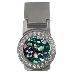 Modern Green And Pink Leaves Money Clips (cz)