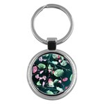 Modern Green And Pink Leaves Key Chains (Round)  Front