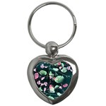 Modern Green And Pink Leaves Key Chains (Heart)  Front