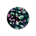 Modern Green And Pink Leaves Rubber Round Coaster (4 pack)  Front