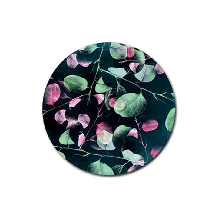 Modern Green And Pink Leaves Rubber Round Coaster (4 pack)