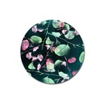 Modern Green And Pink Leaves Magnet 3  (Round) Front