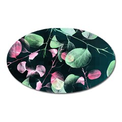 Modern Green And Pink Leaves Oval Magnet
