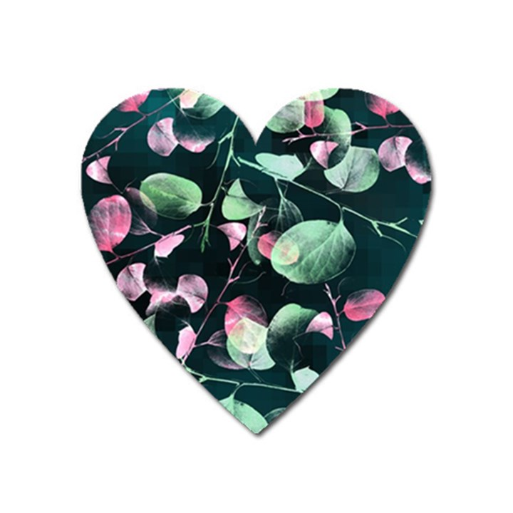 Modern Green And Pink Leaves Heart Magnet