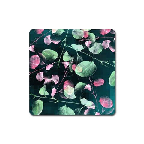 Modern Green And Pink Leaves Square Magnet