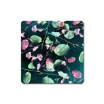 Modern Green And Pink Leaves Square Magnet Front