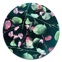 Modern Green And Pink Leaves Magnet 5  (round)