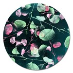 Modern Green And Pink Leaves Magnet 5  (Round) Front