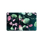 Modern Green And Pink Leaves Magnet (Name Card) Front