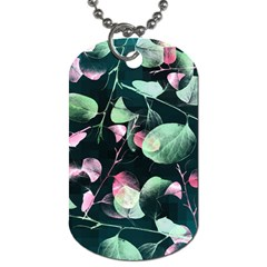 Modern Green And Pink Leaves Dog Tag (one Side)