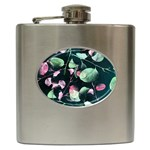 Modern Green And Pink Leaves Hip Flask (6 oz) Front
