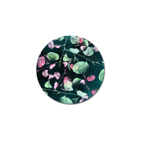 Modern Green And Pink Leaves Golf Ball Marker (4 pack)
