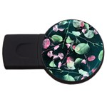 Modern Green And Pink Leaves USB Flash Drive Round (2 GB)  Front