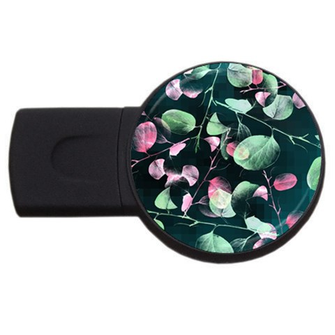 Modern Green And Pink Leaves USB Flash Drive Round (1 GB)