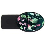 Modern Green And Pink Leaves USB Flash Drive Oval (1 GB)  Front