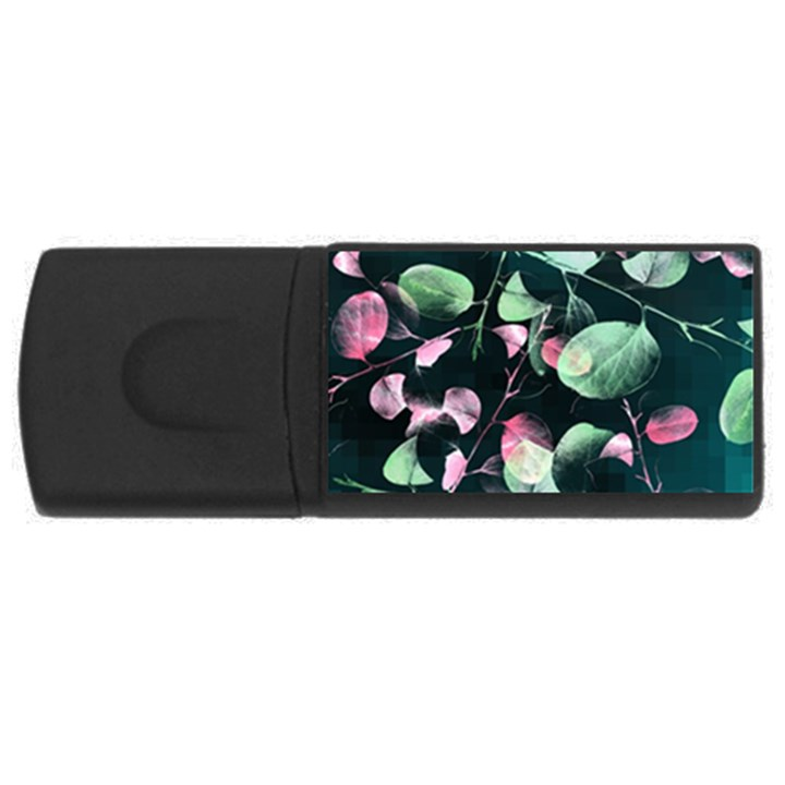 Modern Green And Pink Leaves USB Flash Drive Rectangular (2 GB)